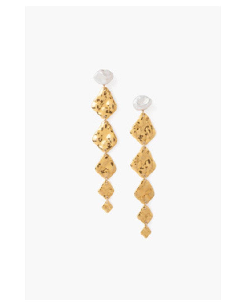 Chan Luu Tiered Gold & Pearl Earring