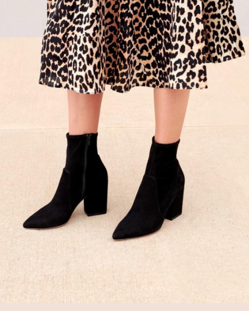 Loeffler Randall Isla Slim Ankle Boot Black Suede