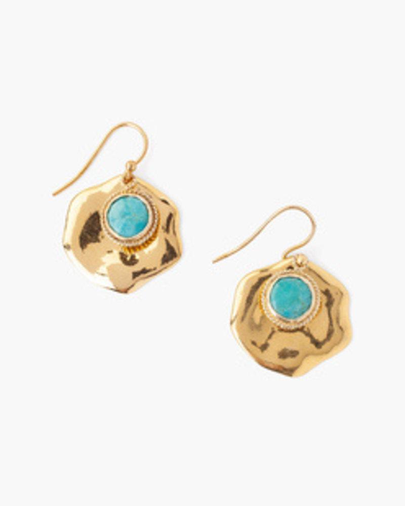 Chan Luu Stone Thumbprint Earrings Turquoise