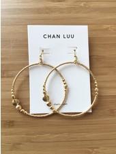 Chan Luu Beaded Drop Hoops Yellow Gold