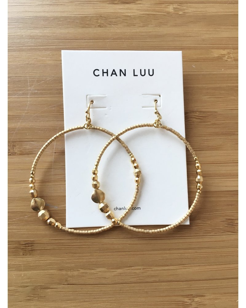 Chan Luu Beaded Drop Hoops Yellow Gold