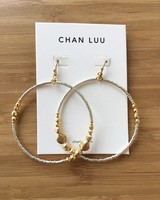 Chan Luu Beaded Drop Hoops Gold Mix