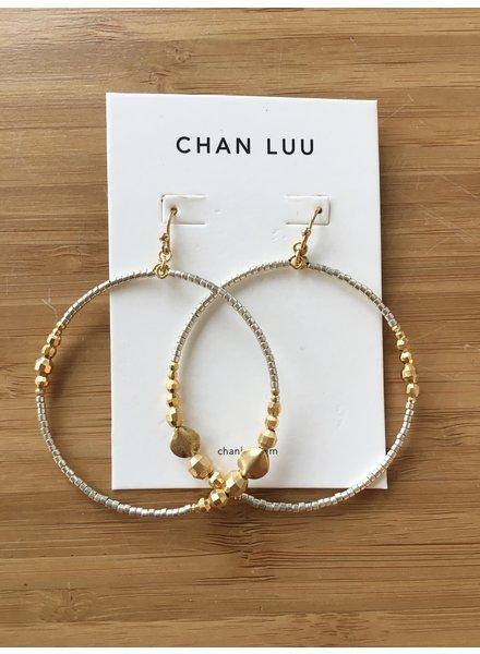 Chan Luu Beaded Drop Hoops Gold Mix