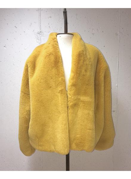 Faux Fur Bubble Jacket/ Gold/ S