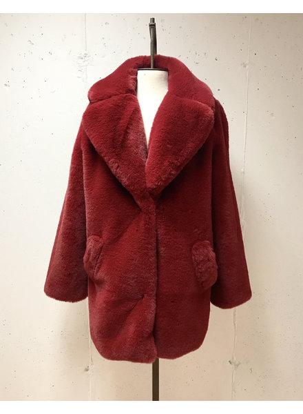Faux Plush Coat/ Red/ S