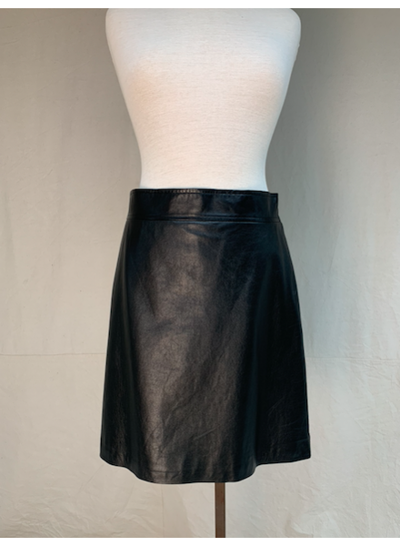 Theory HW Leather Skirt/ Black/ 8