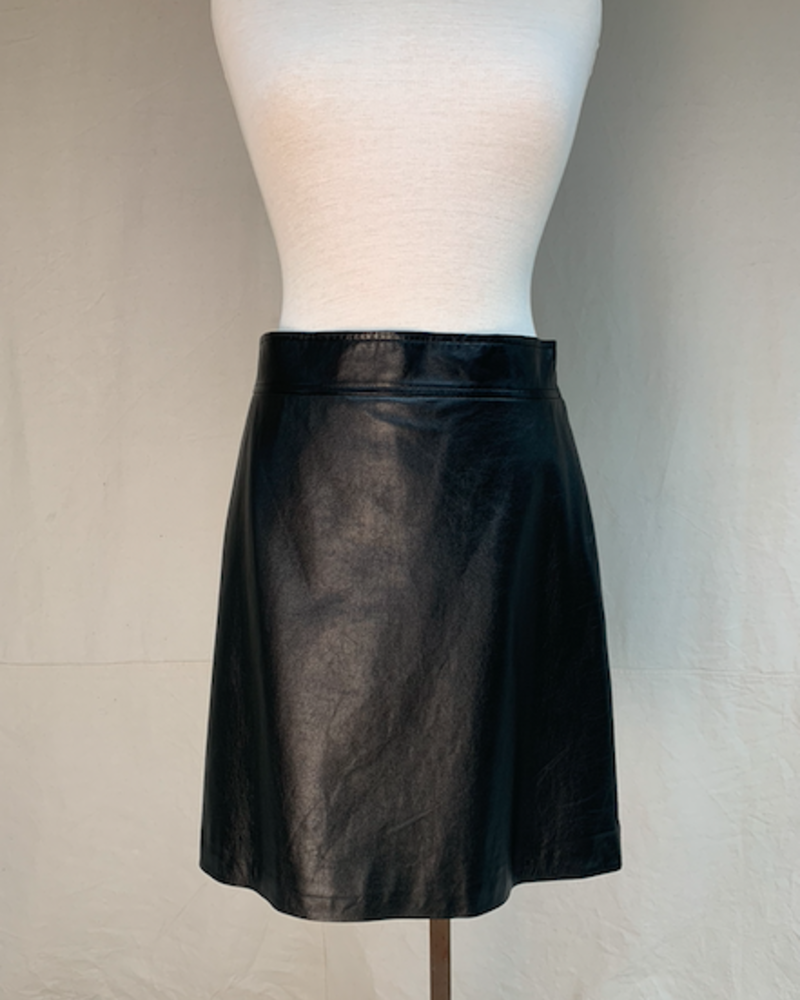 Theory HW Leather Skirt/ Black/ 8