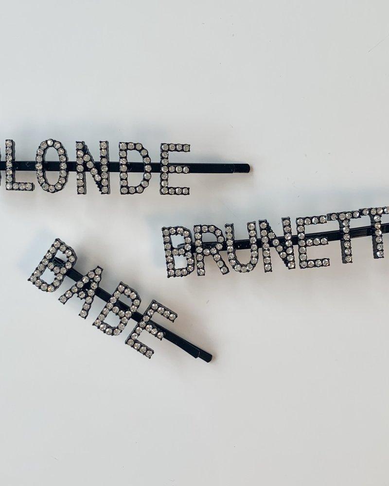 Brunette The Label Rhinestone Hair Clip