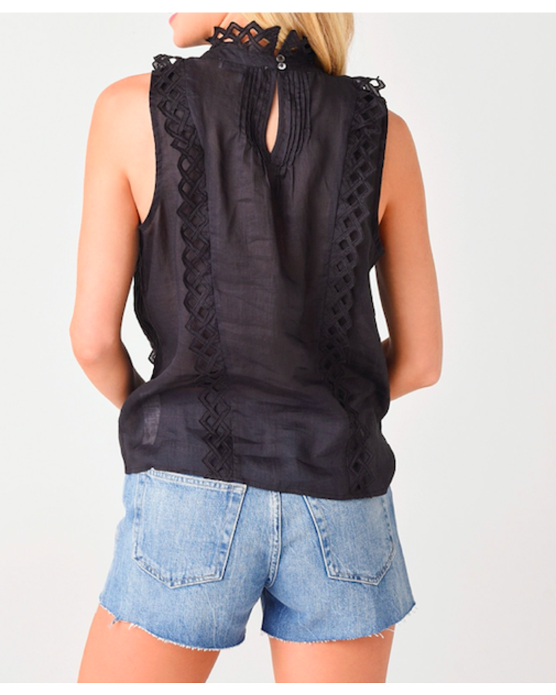 Frame Embroidered High Neck Top