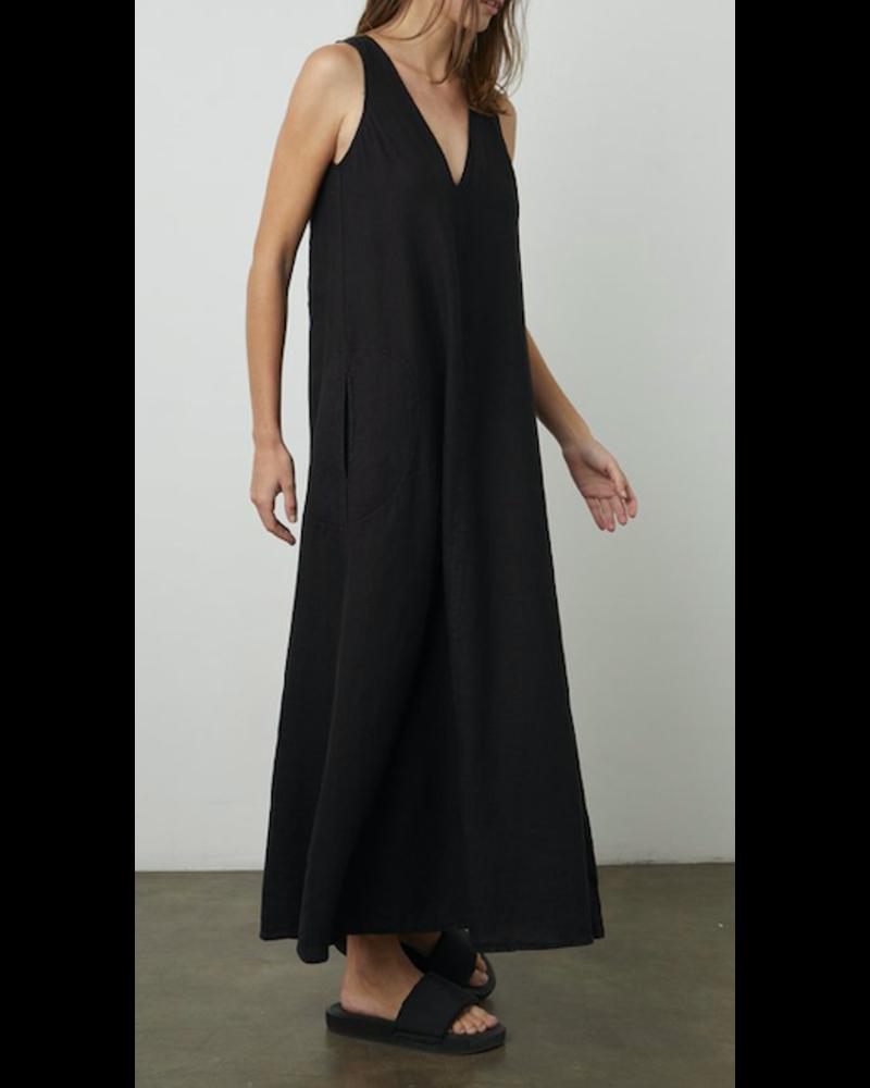 Velvet Woven Linen Dress w/ Pockets