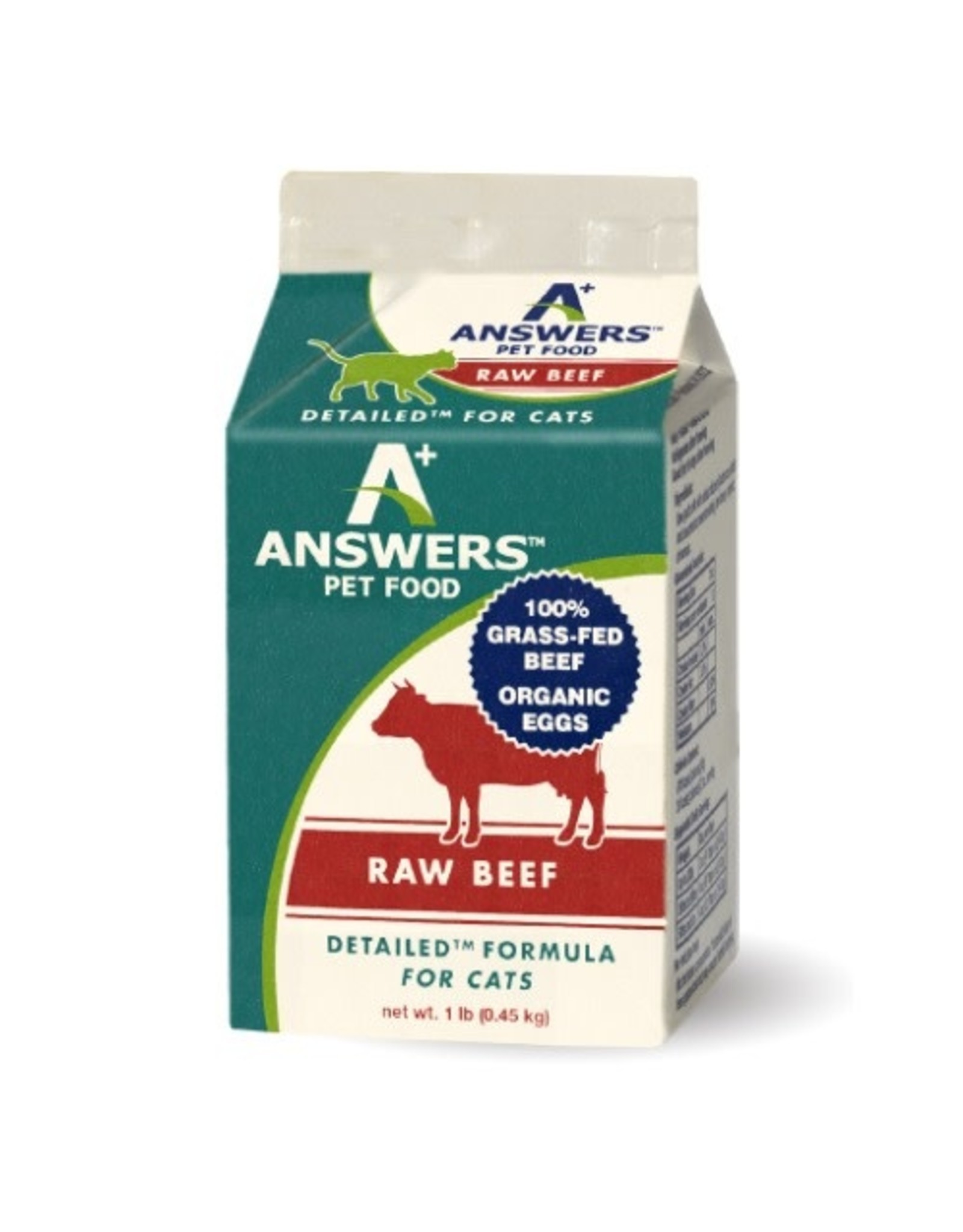 Answers Pet Food ANSWERS CAT DETAILED RAW BEEF 1LB CHUB