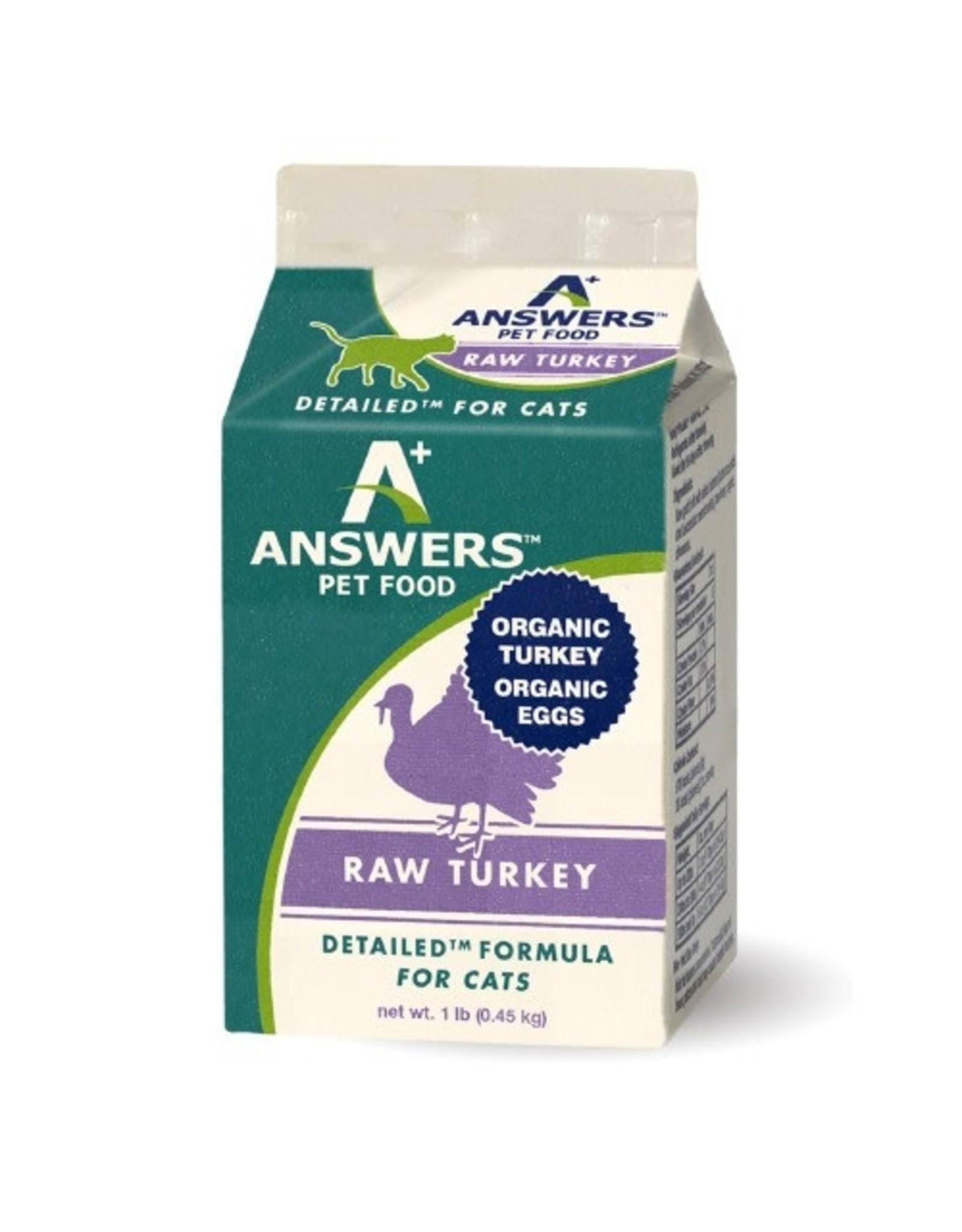 Answers Pet Food ANSWERS CAT DETAILED RAW TURKEY 1LB CHUB