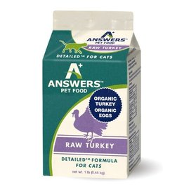 Answers Pet Food ANSWERS CAT DETAILED RAW TURKEY 1LB CHUB