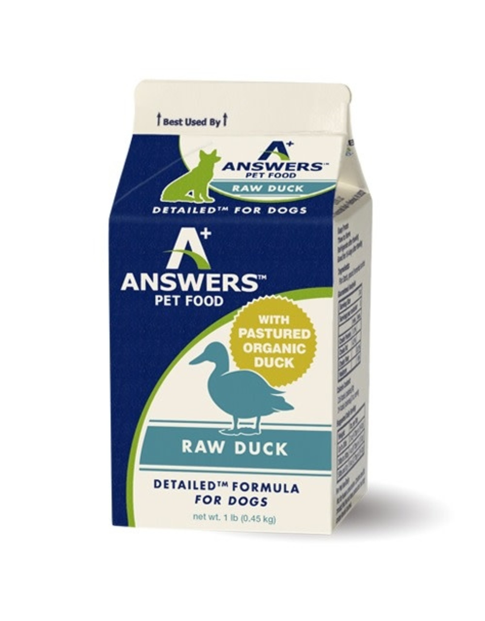 Answers Pet Food ANSWERS DOG DETAILED FORMULA RAW DUCK