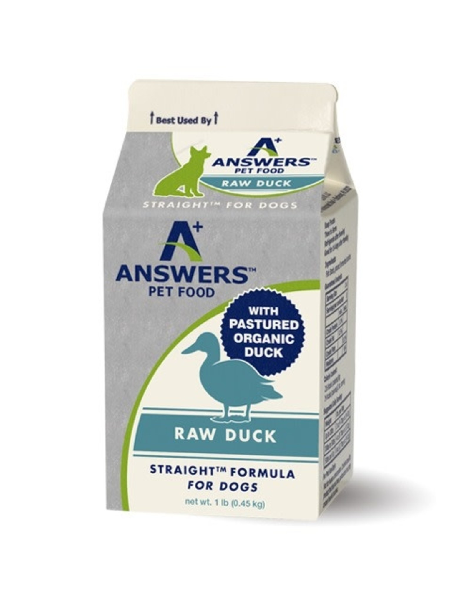 Answers Pet Food ANSWERS DOG STRAIGHT FORMULA RAW DUCK