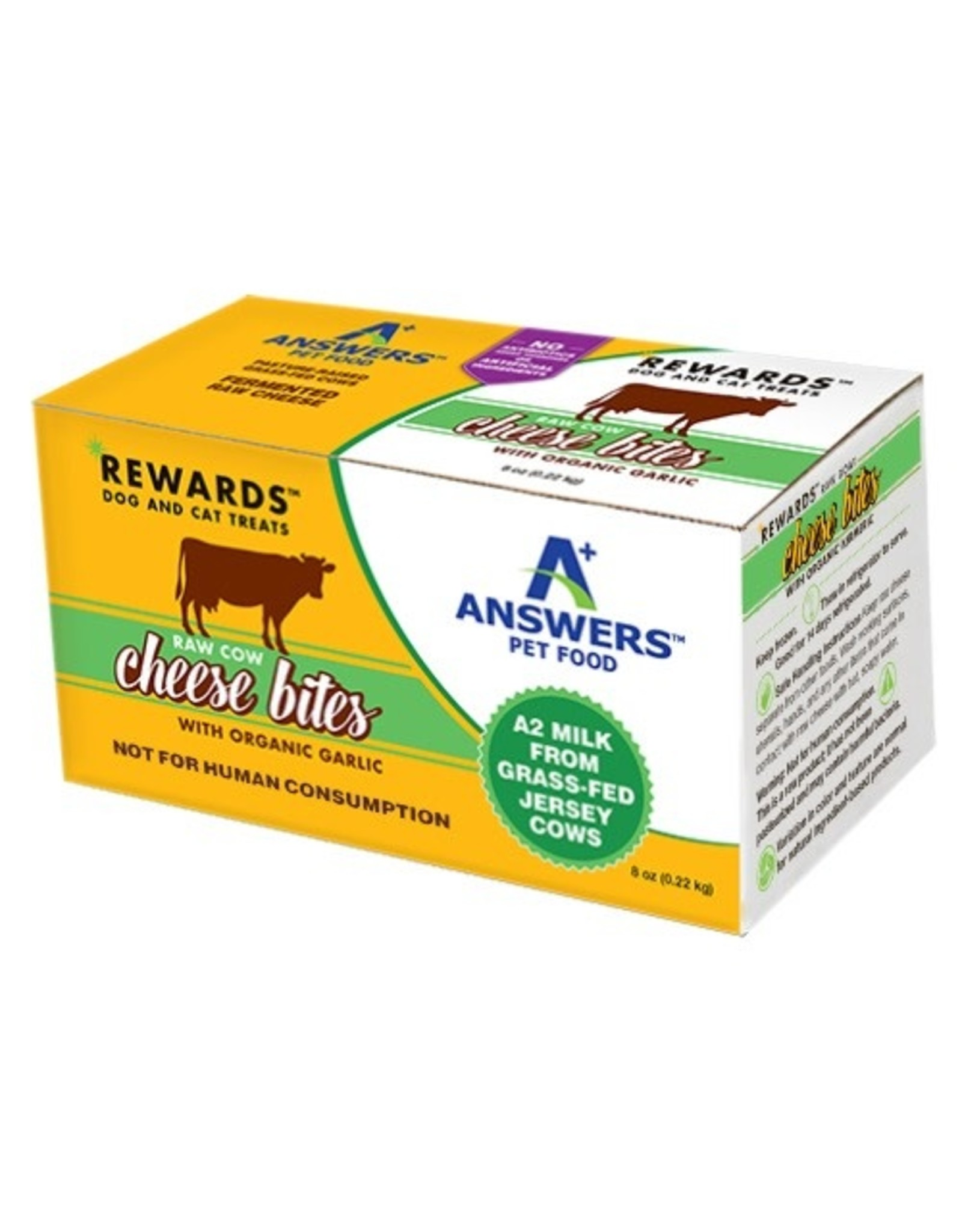 Answers Pet Food ANSWERS RAW COW CHEESE BITES WITH ORGANIC GARLIC 8OZ