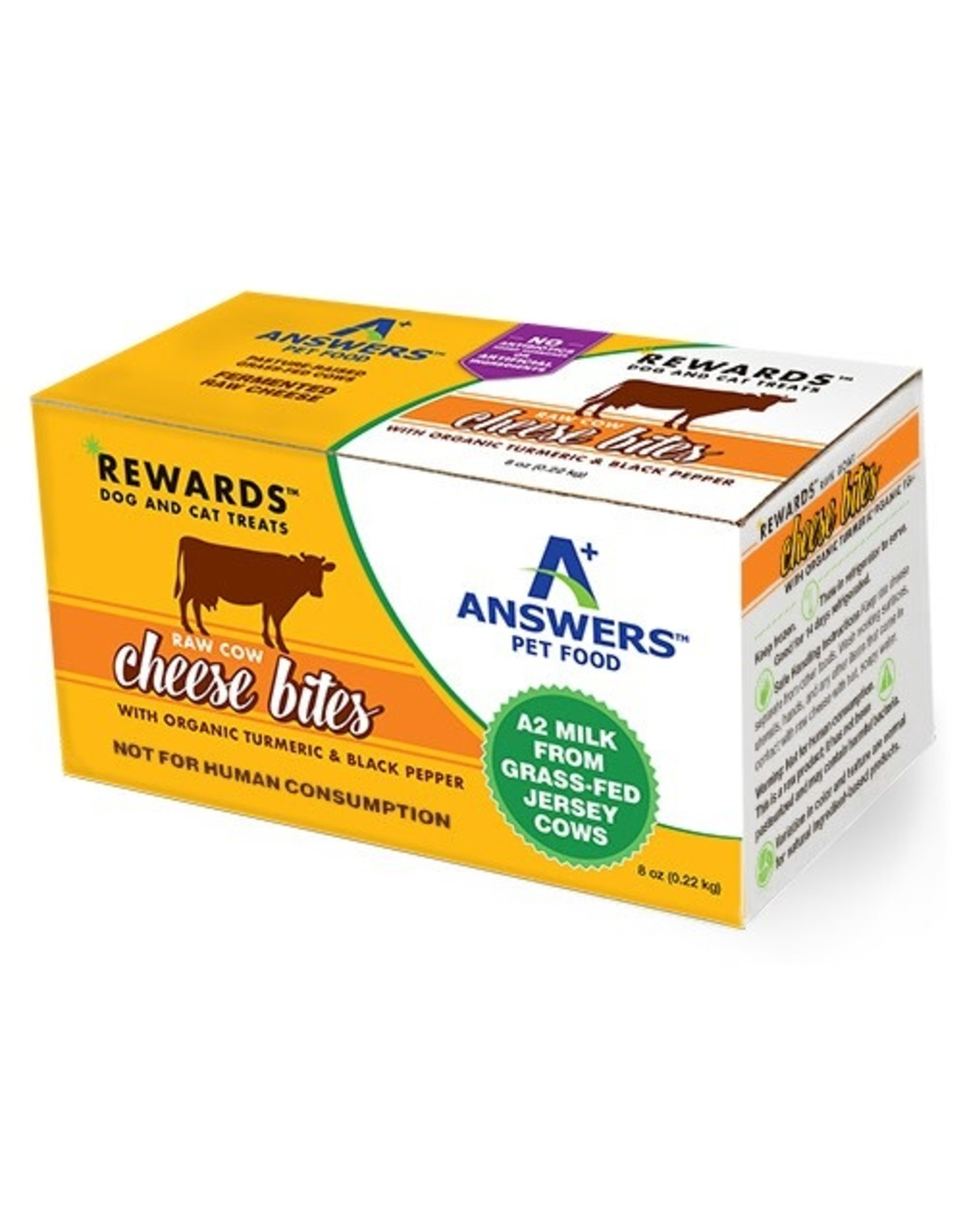 Answers Pet Food ANSWERS RAW COW CHEESE BITES WITH ORGANIC TURMERIC & BLACK PEPPER 8OZ