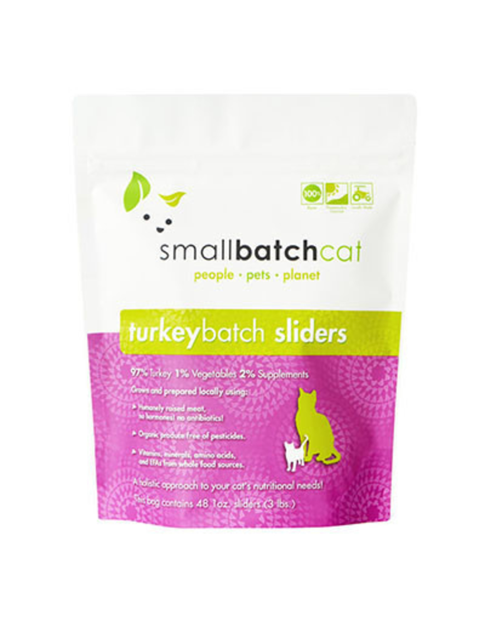 Smallbatch SMALLBATCH CAT FROZEN RAW TURKEY BATCH 48-COUNT SLIDERS
