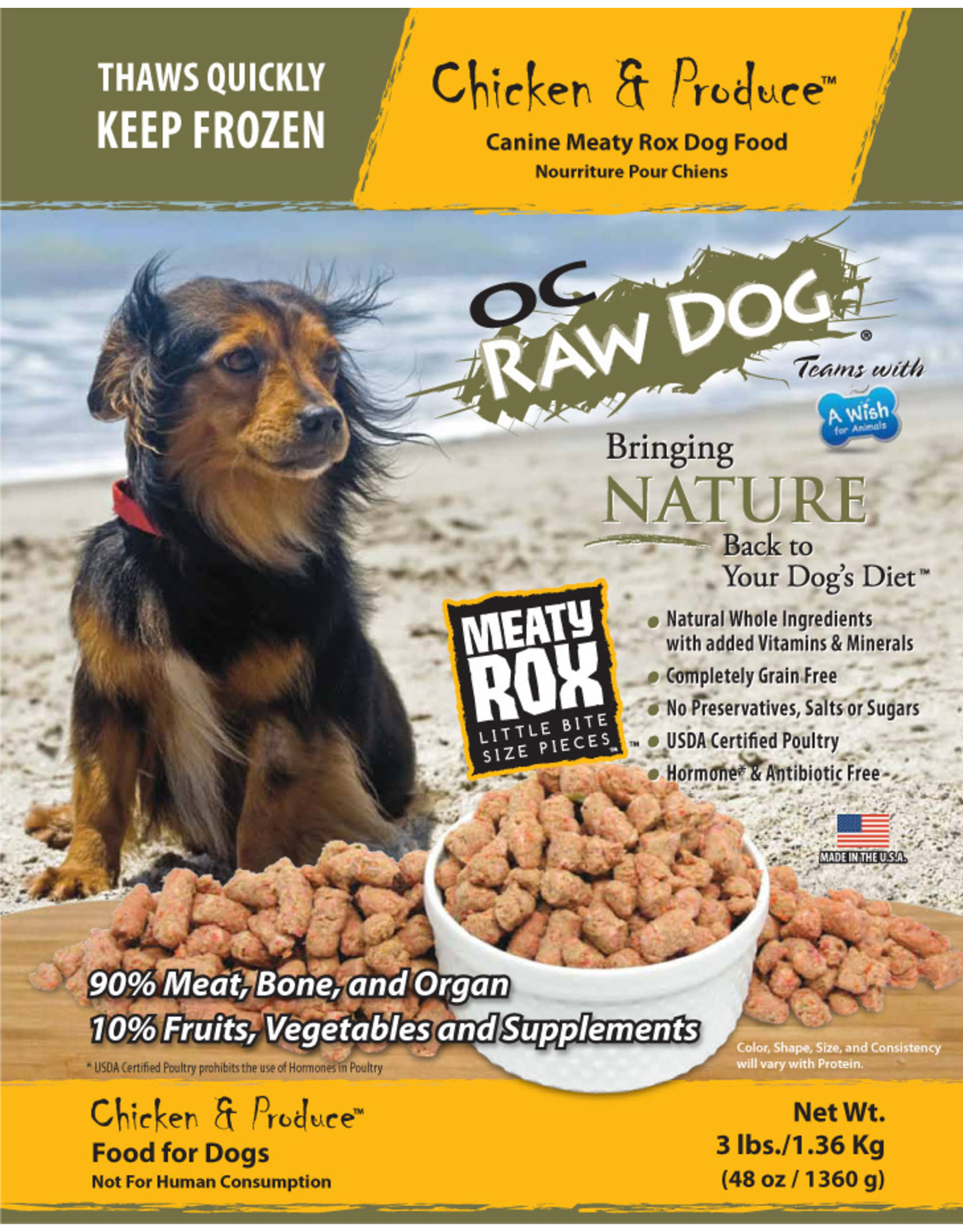 OC Raw Dog OC RAW DOG FROZEN RAW MEATY ROX CHICKEN & PRODUCE