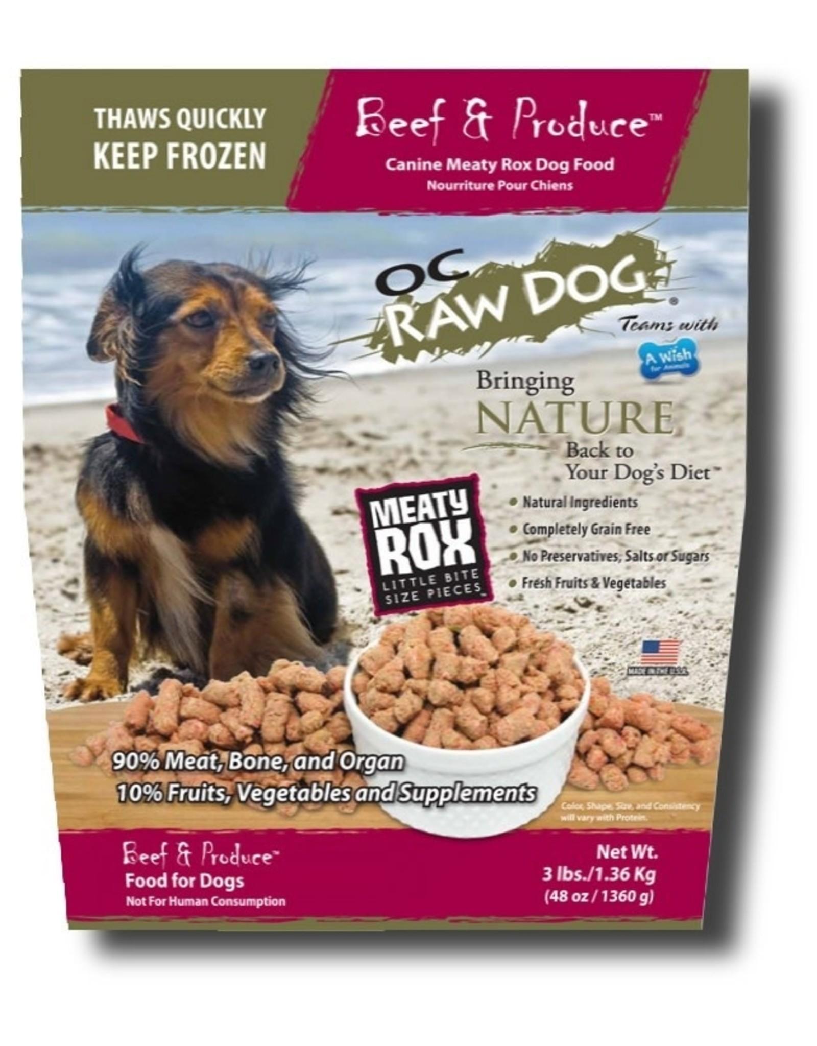 OC Raw Dog OC RAW DOG FROZEN RAW MEATY ROX BEEF & PRODUCE