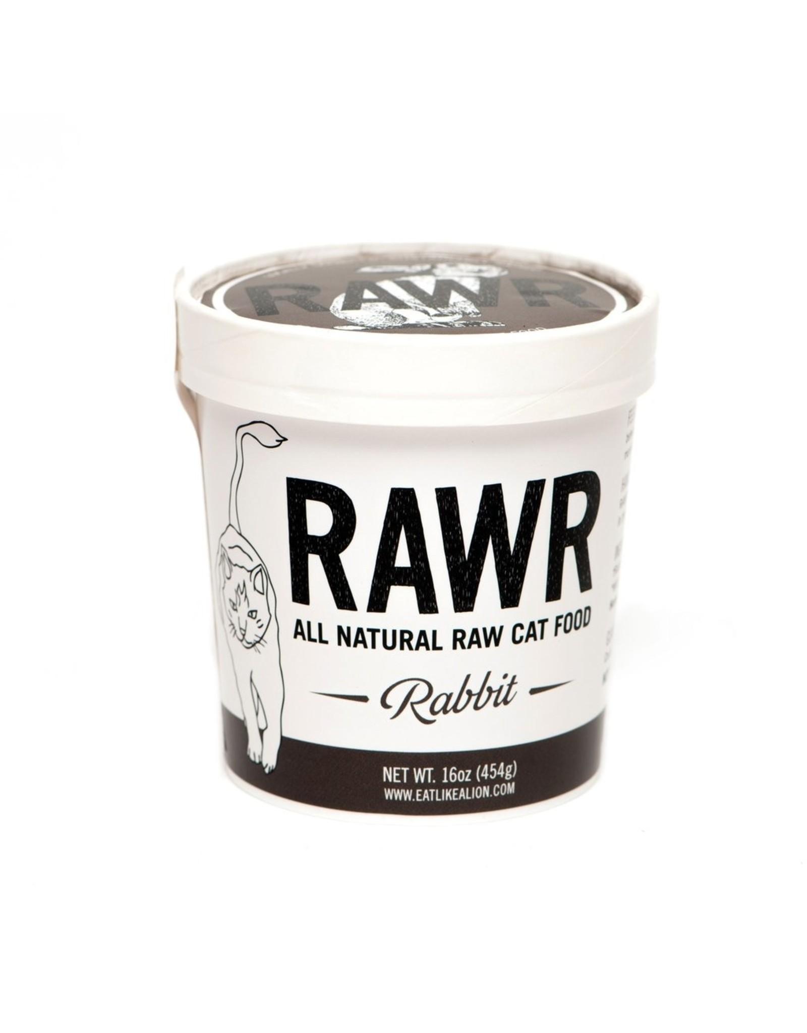 Rawr RAWR RAW FROZEN RABBIT CAT FOOD
