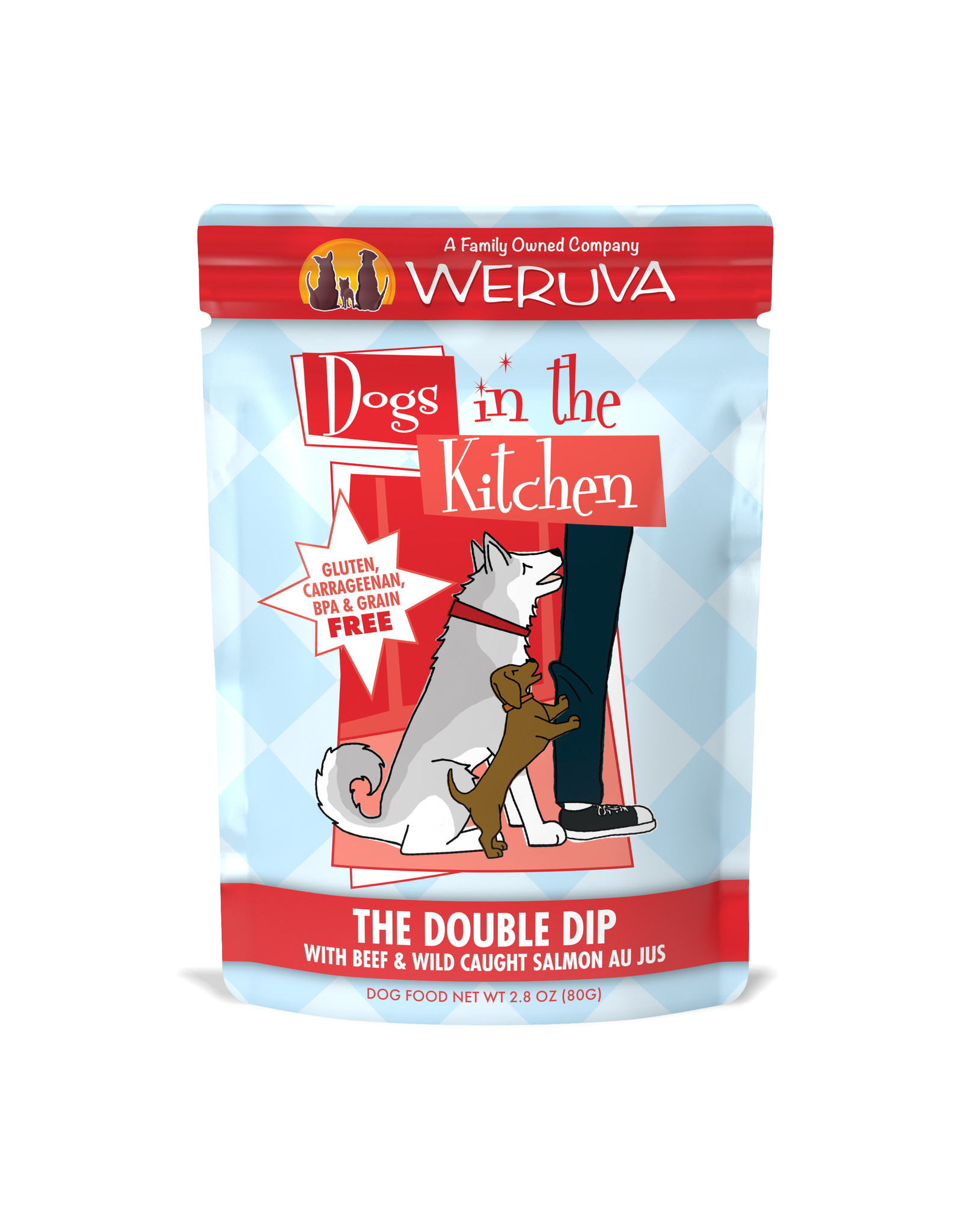 Weruva WERUVA DOG DOGS IN THE KITCHEN THE DOUBLE DIP WITH BEEF & WILD-CAUGHT SALMON AU JUS 2.8OZ