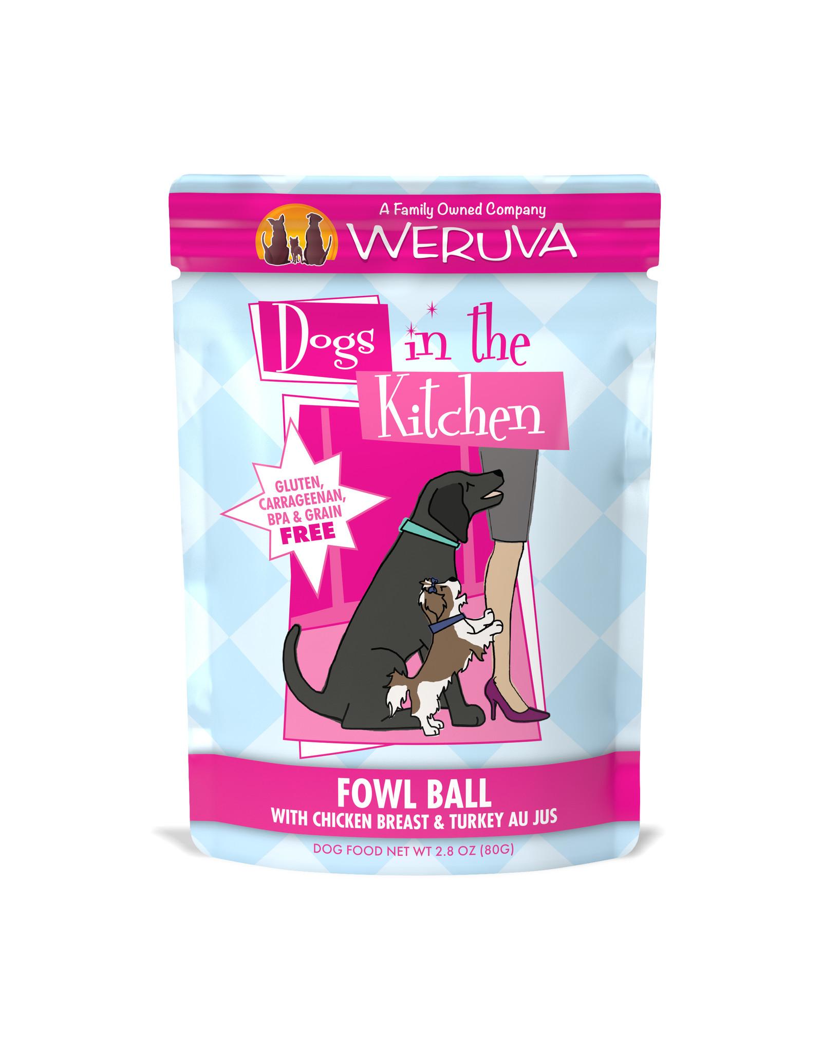 Weruva WERUVA DOG DOGS IN THE KITCHEN FOWL BALL WITH CHICKEN BREAST & TURKEY AU JUS 2.8OZ