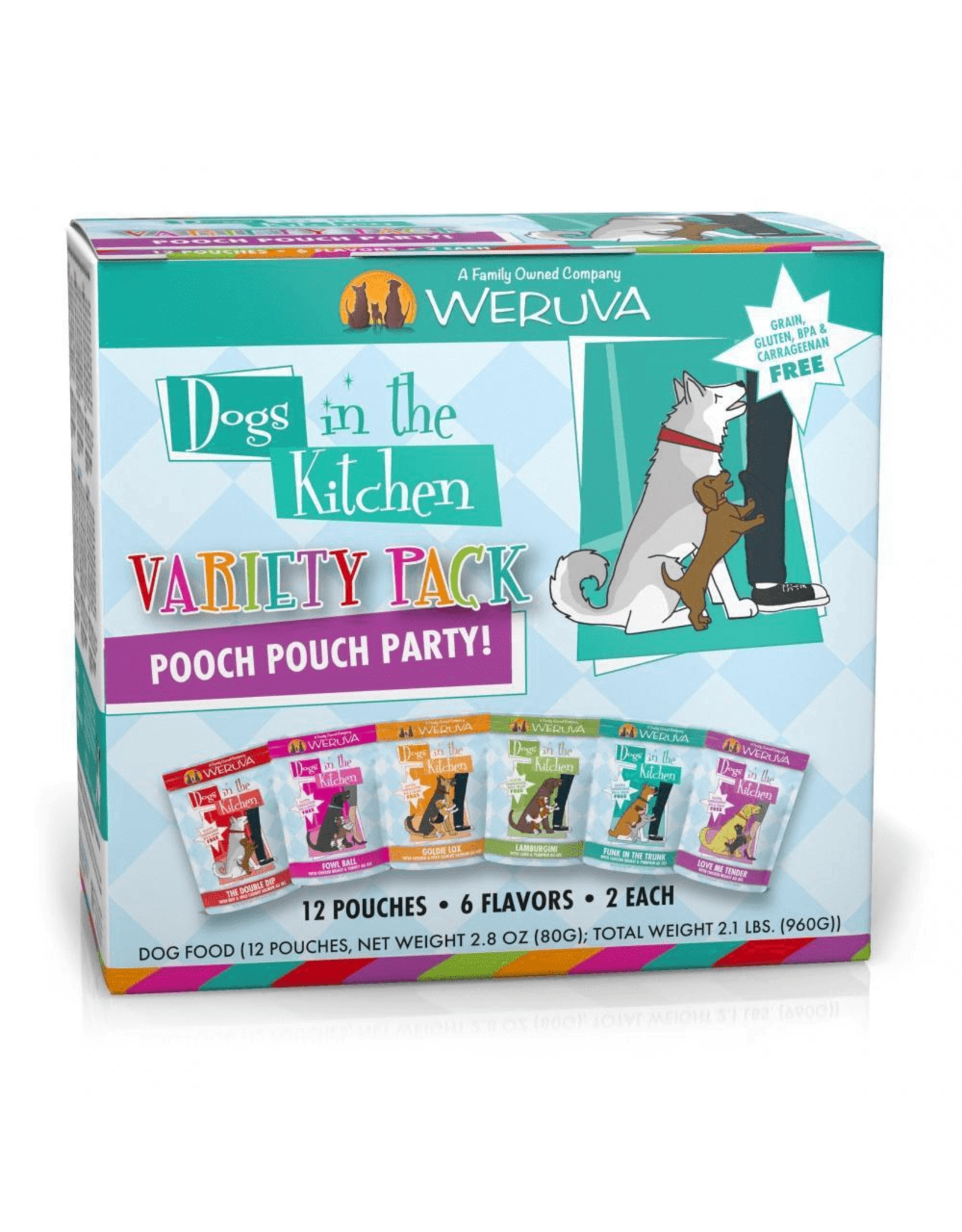 Weruva WERUVA DOG DOGS IN THE KITCHEN POOCH POUCH PARTY! VARIETY PACK 2.8OZ CASE OF 12