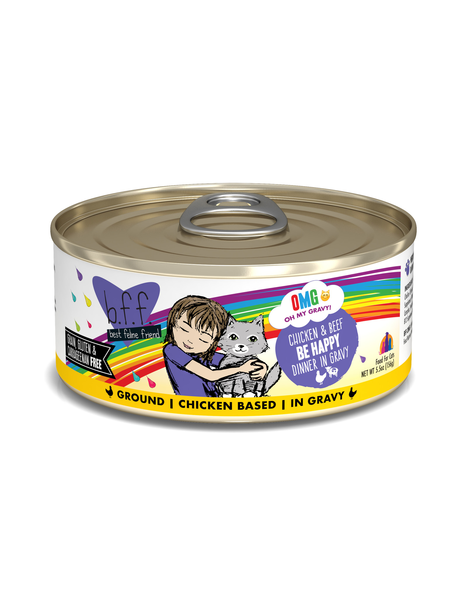 Weruva WERUVA CAT B.F.F. OMG BE HAPPY CHICKEN & BEEF DINNER IN GRAVY 5.5OZ
