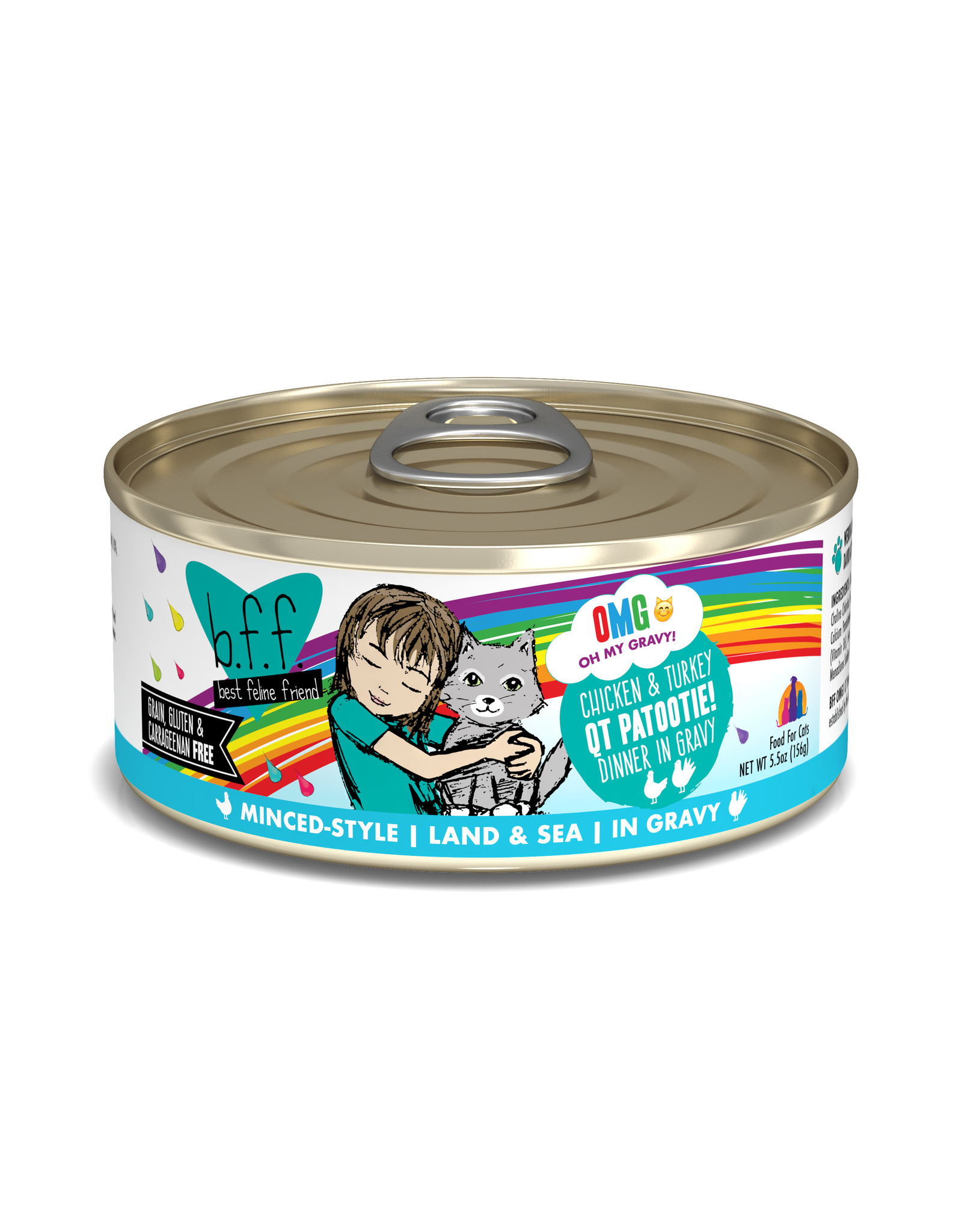 Weruva WERUVA CAT B.F.F. OMG QT PATOOTIE! CHICKEN & TURKEY DINNER IN GRAVY 5.5OZ