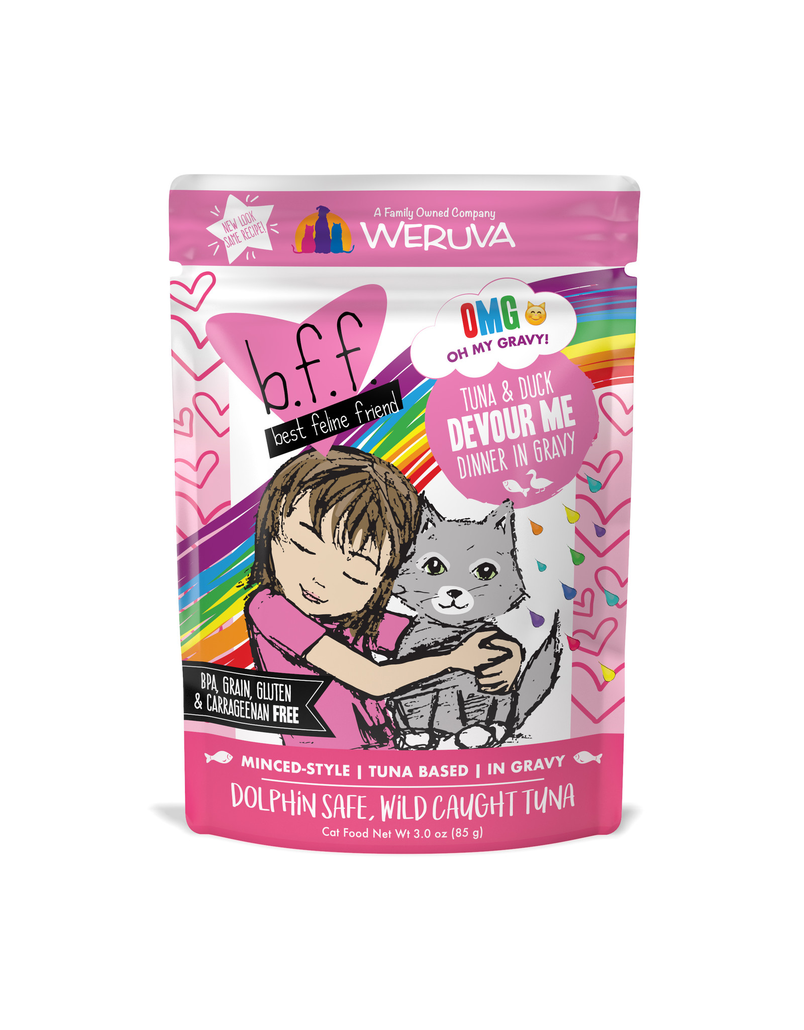 Weruva WERUVA CAT B.F.F. OMG DEVOUR ME TUNA & DUCK DINNER IN GRAVY 2.8OZ