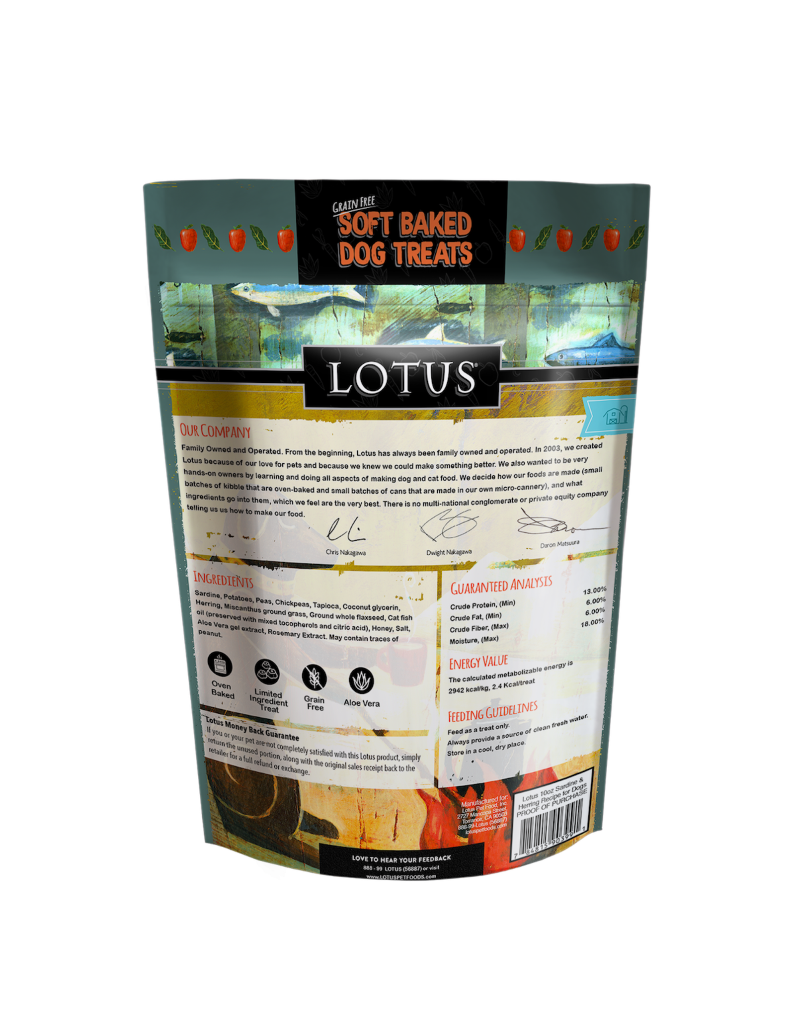 Lotus Pet Foods LOTUS SOFT-BAKED SARDINE & HERRING RECIPE DOG TREATS 10OZ