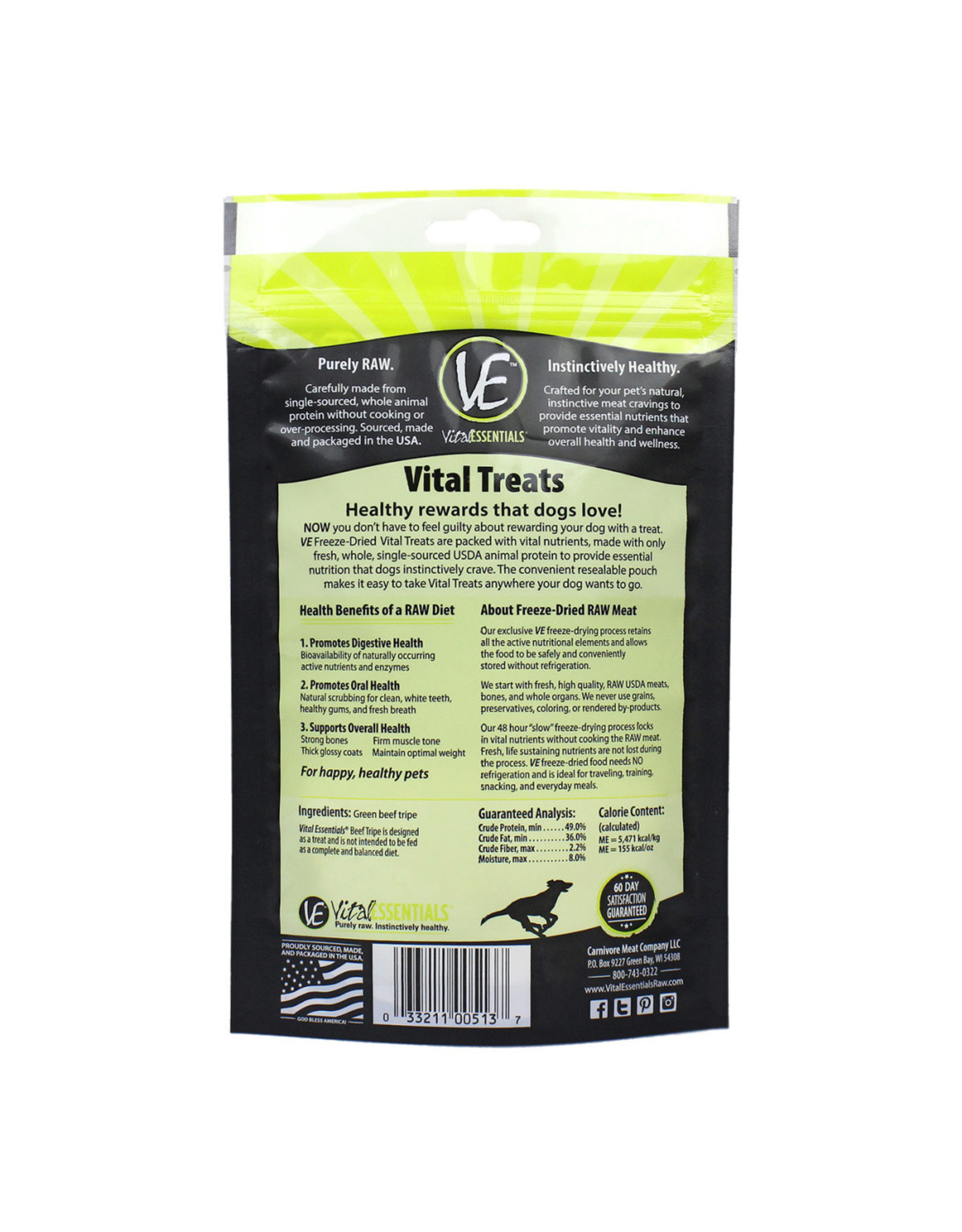 Vital Essentials VITAL ESSENTIALS FREEZE-DRIED BEEF TRIPE TREATS FOR DOGS 2.3OZ