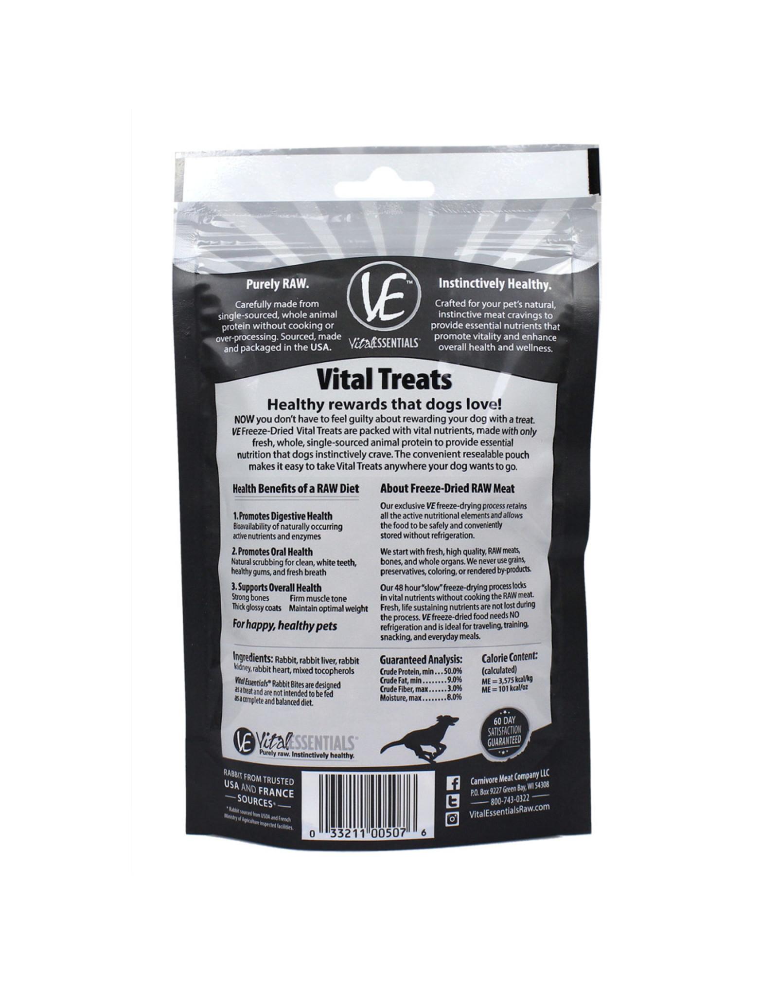 Vital Essentials VITAL ESSENTIALS FREEZE DRIED RABBIT BITES TREATS FOR DOGS 2OZ