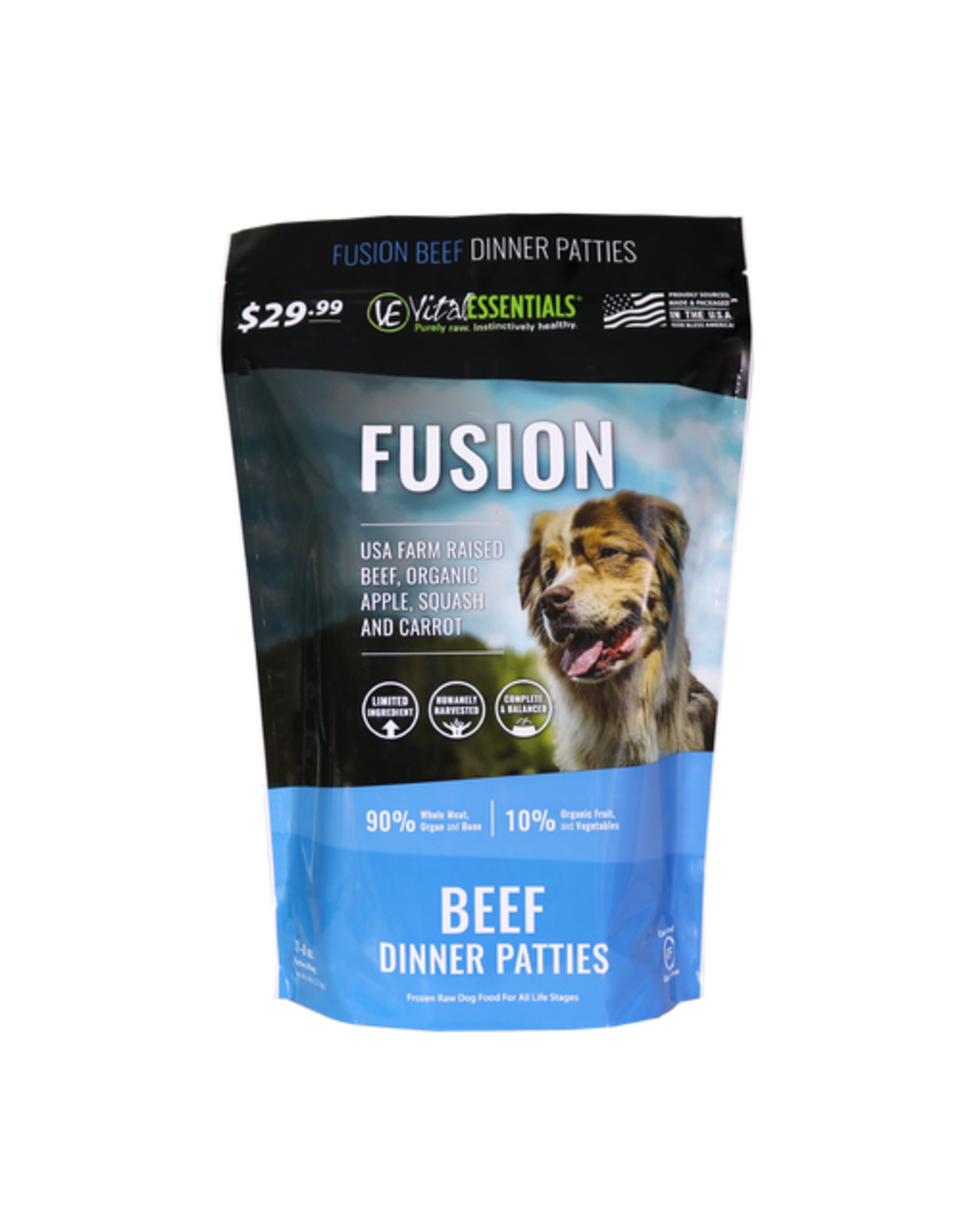 Fusion - Vital Essentials VITAL ESSENTIALS FUSION RAW FROZEN BEEF DINNER PATTIES 6LB