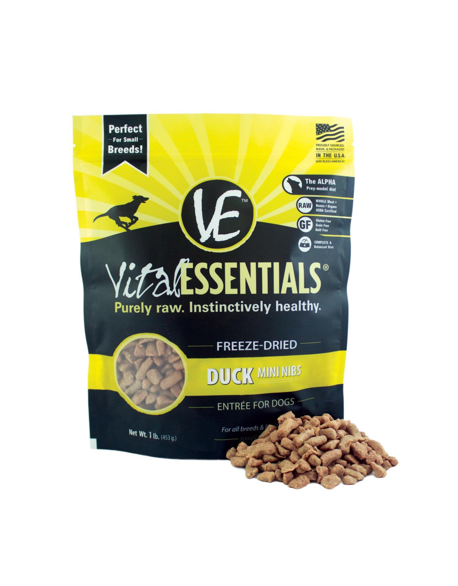 Vital Essentials VITAL ESSENTIALS FREEZE-DRIED DUCK MINI NIBS ENTRÉE FOR DOGS 1LB