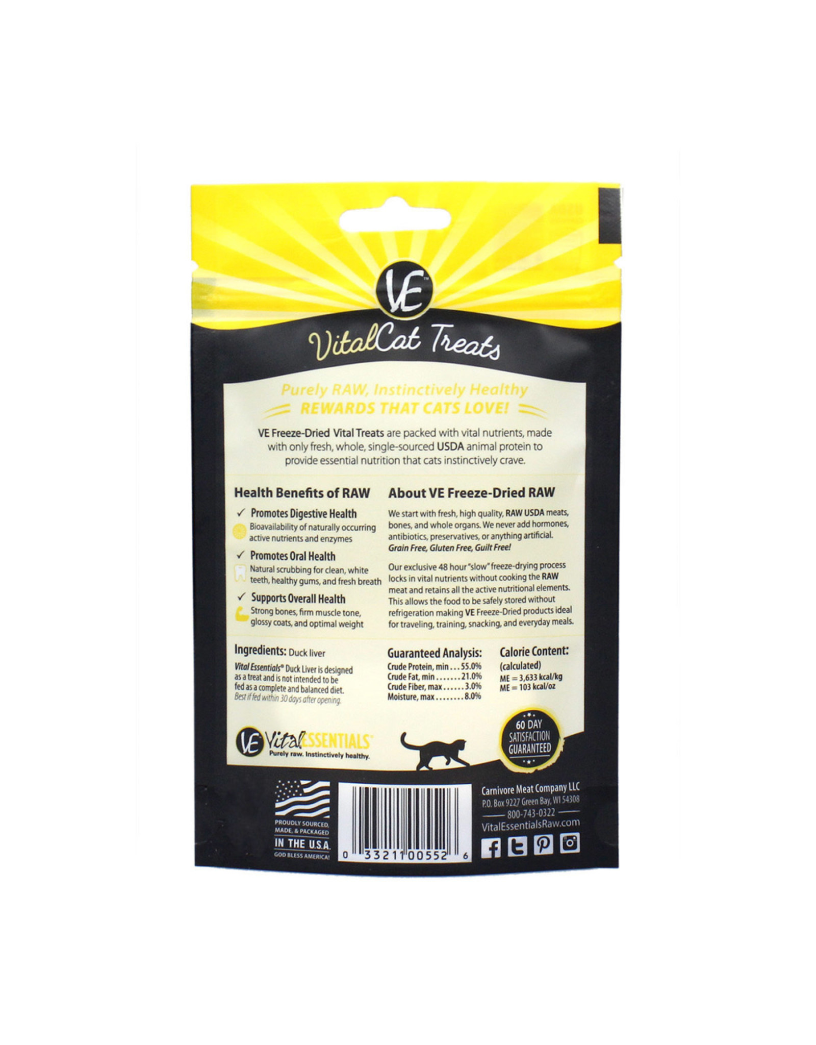 Vital Essentials VITAL CAT FREEZE-DRIED DUCK LIVER TREATS 0.9OZ