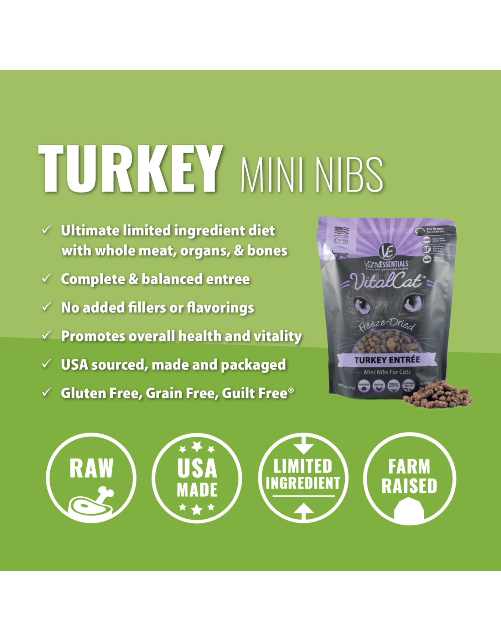 Vital Essentials VITAL CAT FREEZE-DRIED MINI NIBS TURKEY ENTRÉE 12OZ
