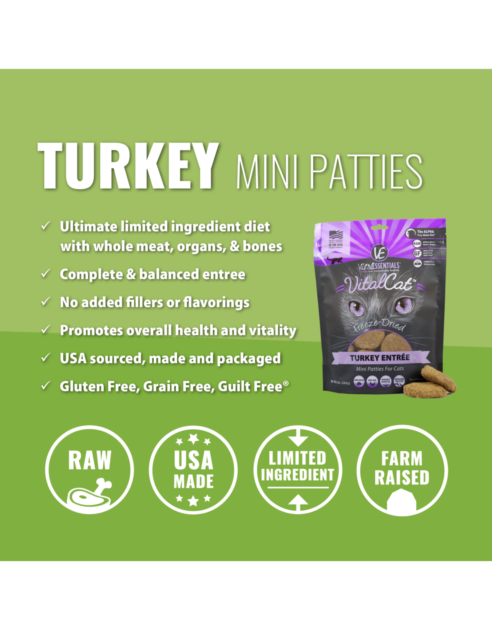 Vital Essentials VITAL CAT FREEZE-DRIED MINI PATTIES TURKEY ENTRÉE 8OZ