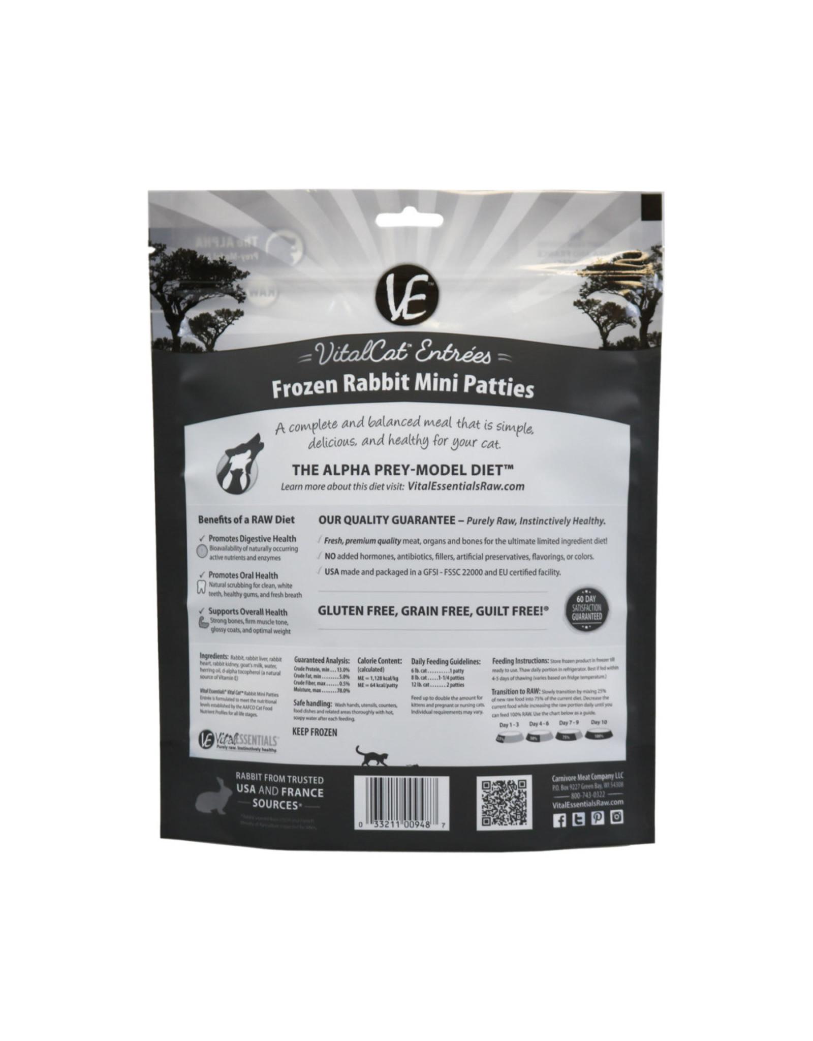Vital Essentials VITAL CAT RAW FROZEN MINI PATTIES RABBIT ENTRÉE 28OZ