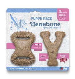 Benebone BENEBONE PUPPY 2-PACK BACON DENTAL CHEW TOY & WISHBONE CHEW TOY
