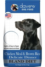 Dave's Pet Food DAVE'S DOG BLAND DIET CHICKEN MEAL & BROWN RICE DELICATE DINNER 4LB