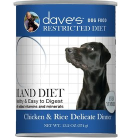 Dave's Pet Food DAVE'S DOG RESTRICTED DIET BLAND CHICKEN & RICE DELICATE DINNER 13.2OZ