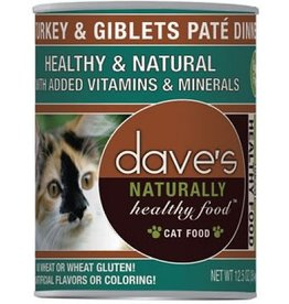 Dave's Pet Food DAVE'S CAT NATURALLY HEALTHY FOOD TURKEY & GIBLETS PATÉ DINNER 12.5OZ