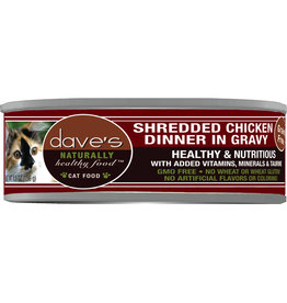 Dave's Pet Food DAVE'S CAT NATURALLY HEALTHY FOOD SHREDDED CHICKEN DINNER IN GRAVY 5.5OZ