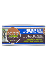 Dave's Pet Food DAVE'S CAT NATURALLY HEALTHY FOOD CHICKEN & WHITEFISH DINNER 5.5OZ
