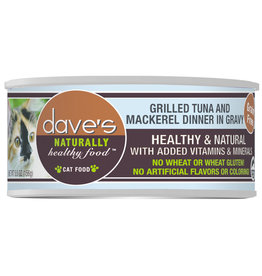 Dave's Pet Food DAVE'S CAT NATURALLY HEALTHY FOOD GRILLED TUNA AND MACKEREL DINNER IN GRAVY 5.5OZ