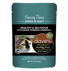 Dave's Pet Food DAVE'S CAT NATURALLY HEALTHY FOOD SAUCEY TUNA DINNER IN GRAVY 2.8OZ