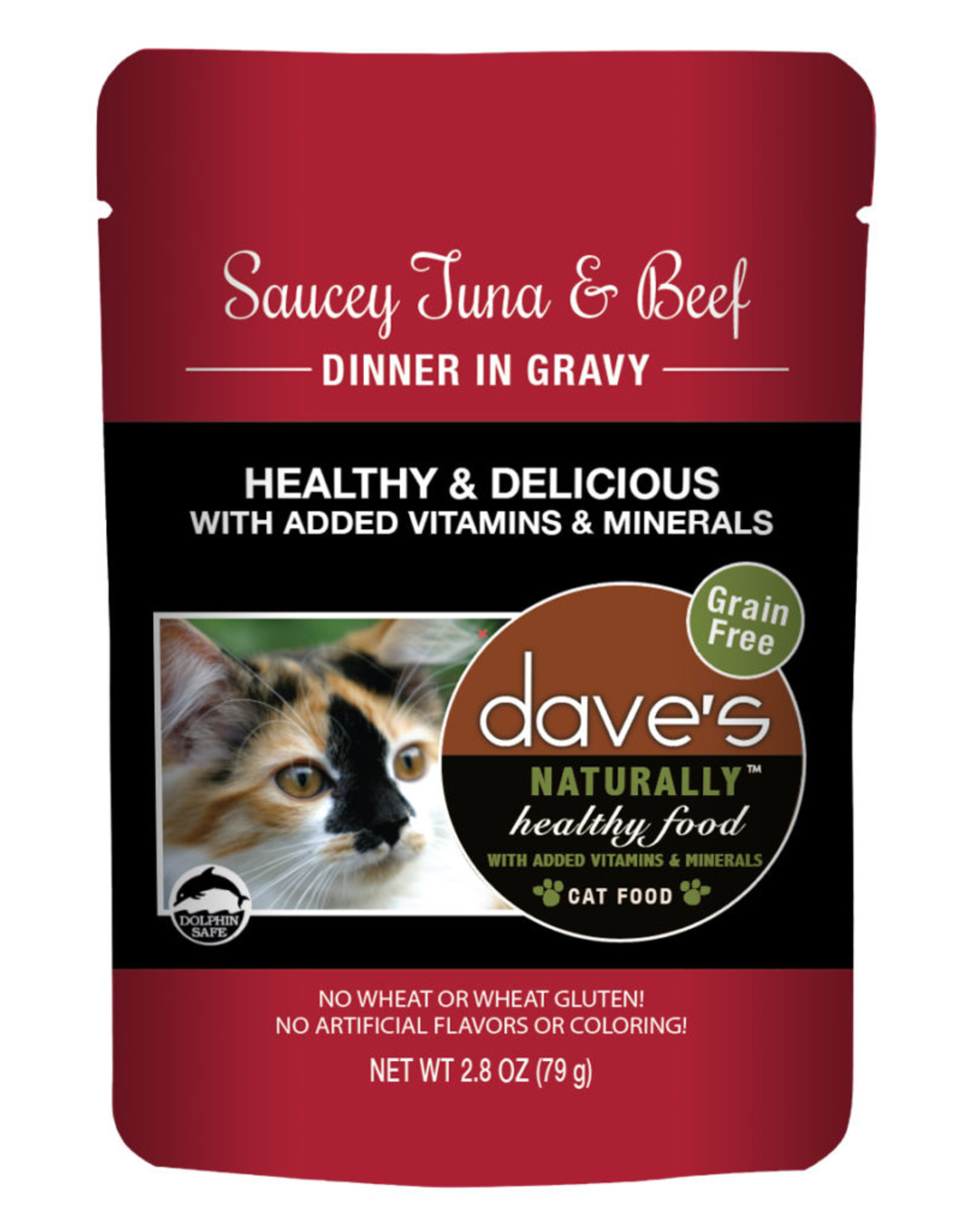 Dave's Pet Food DAVE'S CAT NATURALLY HEALTHY FOOD SAUCEY TUNA & BEEF DINNER IN GRAVY 2.8OZ
