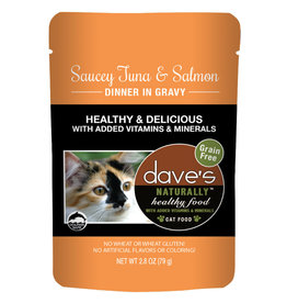 Dave's Pet Food DAVE'S CAT NATURALLY HEALTHY FOOD SAUCEY TUNA & SALMON DINNER IN GRAVY 2.8OZ